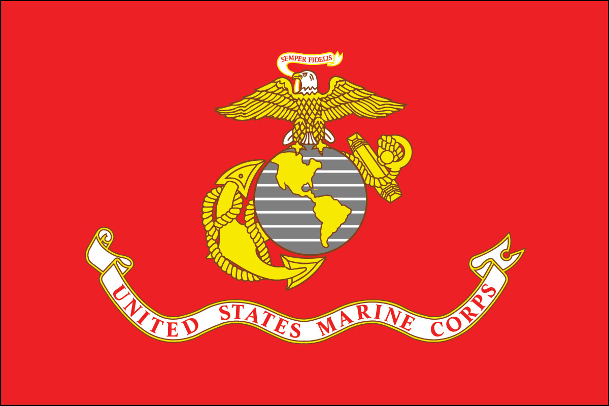 "12x18"" poly flag on a stick of US Marines"