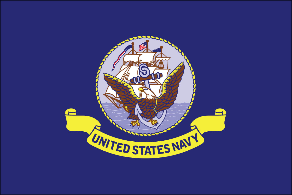 "12x18"" poly flag on a stick of US Navy"