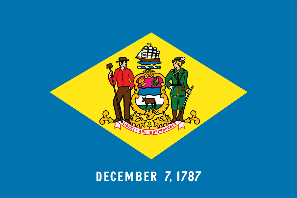 "12x18"" Nylon flag of State of Delaware"
