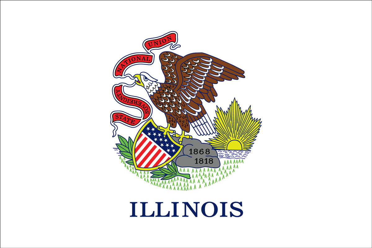 "12x18"" Nylon flag of State of Illinois"