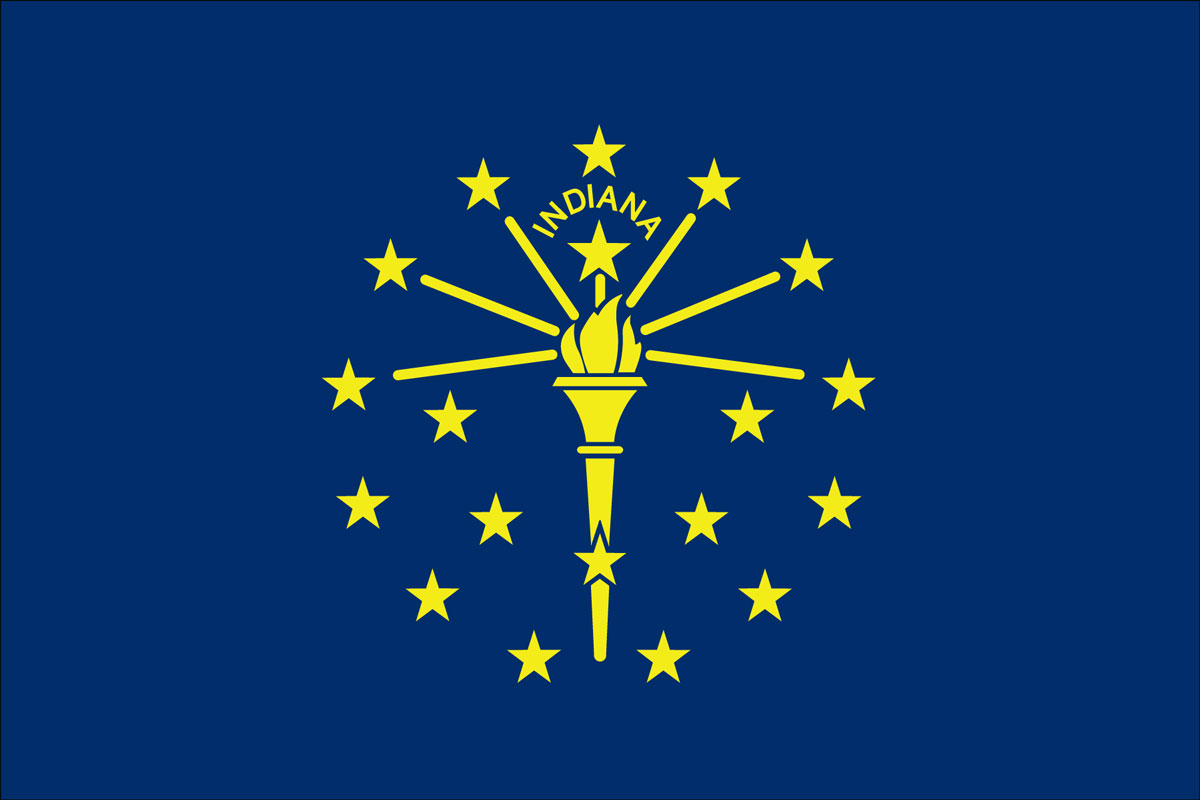 "12x18"" Nylon flag of State of Indiana"