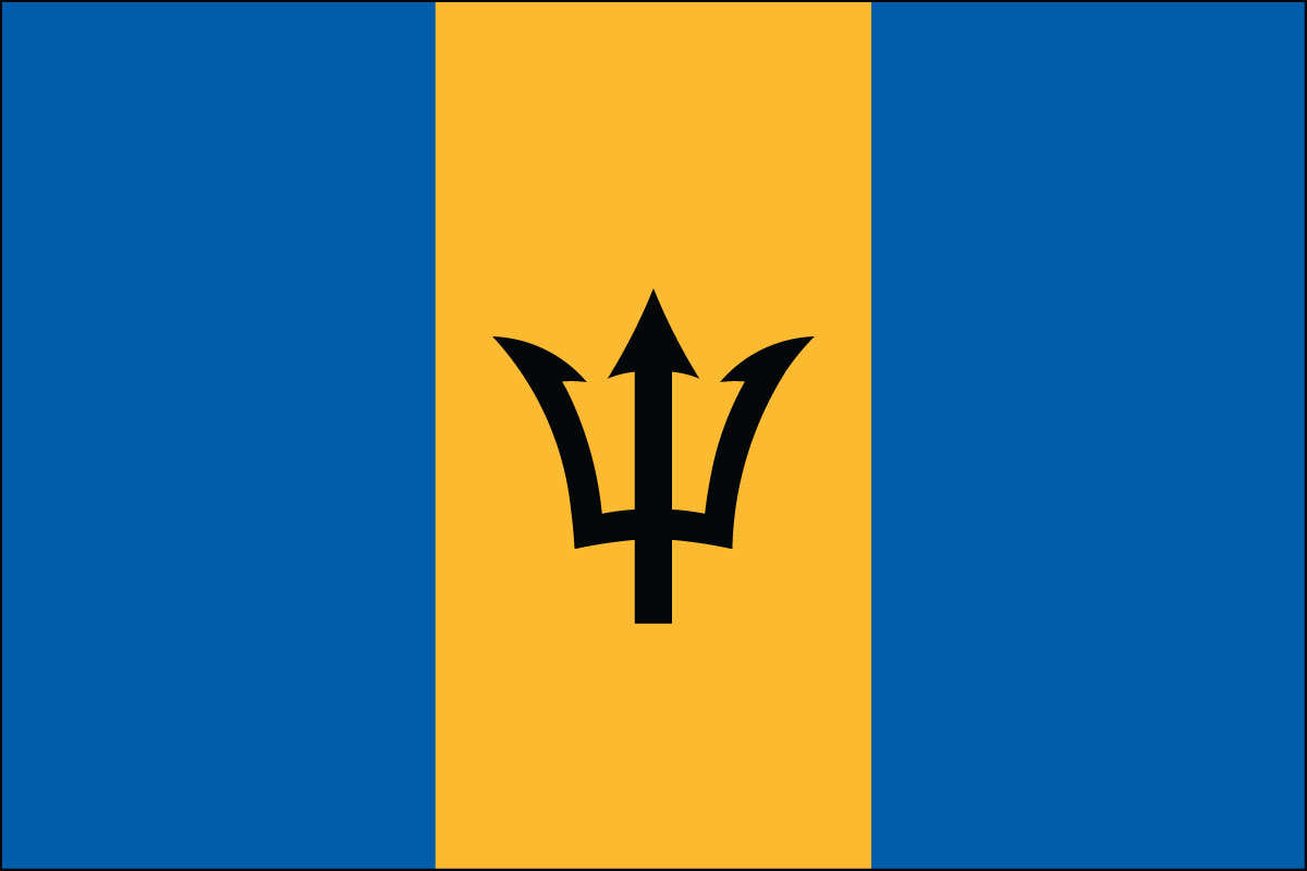 "12x18"" Nylon flag of Barbados"