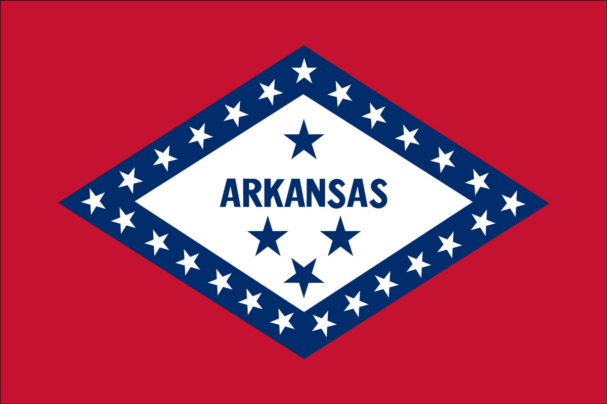 "12x18"" poly flag on a stick of State of Arkansas - 12x18"" polyester flag of the State of Arkansas.<BR>Combines with our other 12x18"" polyester flags for discounts."