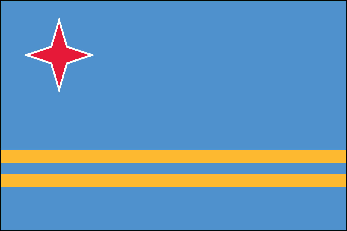 "12x18"" Nylon flag of Aruba - 12x18"" Nylon flag of Aruba.<BR><BR><I>Combines with our other 12x18""nylon flags for discounts.</I>"